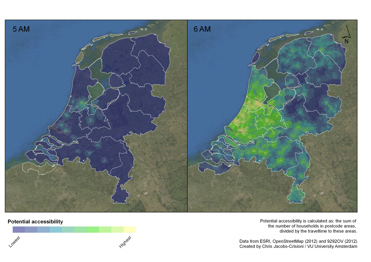 Potential accessibility values enabled by public transport in the Netherlands at different times of day