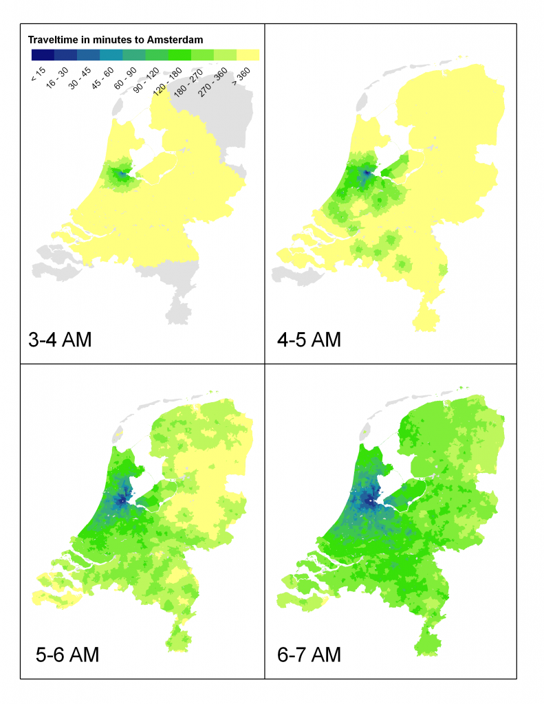 Travel time to Amsterdam by public transport when leaving at the indicated time.